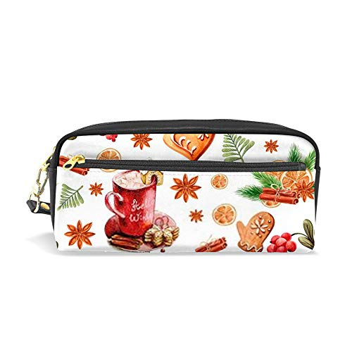 Kuizee Pencil Case Pencil Pouch Watercolor Spices Gingerbread Cup Winter Christmas Zipper Stationery Pouch Bag School Office Students PU Leather Durable 7.8 Inch