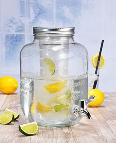Spetebo Getränkespender 4 Liter mit Zapfhahn und Fruchteinsatz zum befüllen mit Früchten oder EIS - Saftspender Dispenser