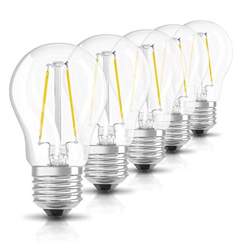Osram LED Star Classic P Lampe, in Tropfenform mit E27-Sockel, nicht dimmbar, Ersetzt 25 Watt, Filamentstil Klar, Warmweiß - 2700 Kelvin, 6er-Pack