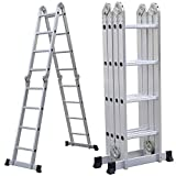 PARTS-DIYER 15.5' Aluminum Multi Purpose Folding Ladder Scaffold Ladders with 2 PlatReplacement Form Plates- 330Lbs