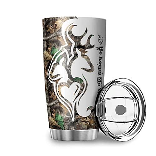 Tobgreatey Botella de agua con aislamiento al vacío de 20 onzas, de acero inoxidable, con tapa abatible, mantiene el ciervo salvaje, para coche, color blanco, 600 ml