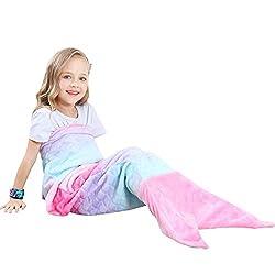 VHOME Kinder Meerjungfrau Decke Geschenke Beste - Personalisierte Warmes Wohnzimmer Sofa Decke Schlafsack Spielzeug Kinder Für Weihnachts Geburtstagsgeschenk (V1-Rosa, Kinder 120cm x 48cm)