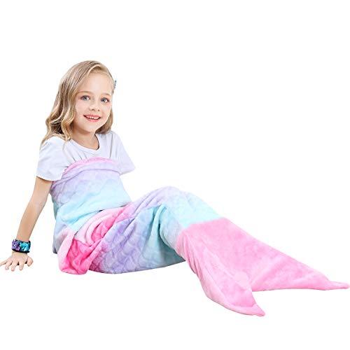 VHOME Kinder Meerjungfrau Decke Geschenke Beste - Warmes Wohnzimmer Sofa Decke Schlafsack Spielzeug Kinder Für Weihnachts Geburtstagsgeschenk (V1-Rosa, Kinder 120cm x 48cm)