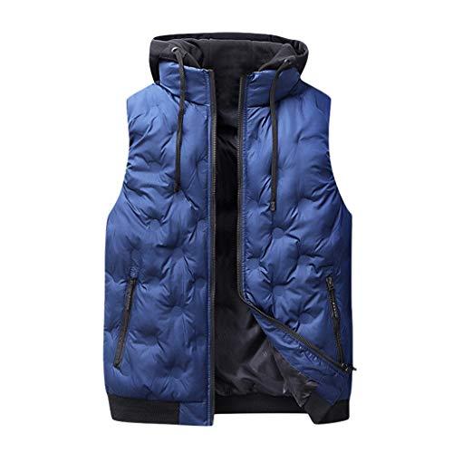 Xmiral Weste Jacke Herren Einfarbig Ärmellos Mantel mit Kapuzen Reißverschluss Slim Fit Steppjacke Stehkragen Trenchcoat Outwear Tops Bluse(Blau,XL)