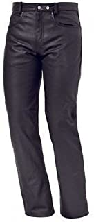 Bikers Gear Australia Men's Classic Leather Jeans for Motorcycle or Casual 100% Leather Black