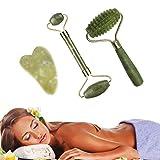 TOPmountain 3 rodillos de jade natural para la cara, rodillo de jade de piedra de jade, rodillo de jade y juego de gua shaa, terapia antienvejecimiento, pérdida de belleza