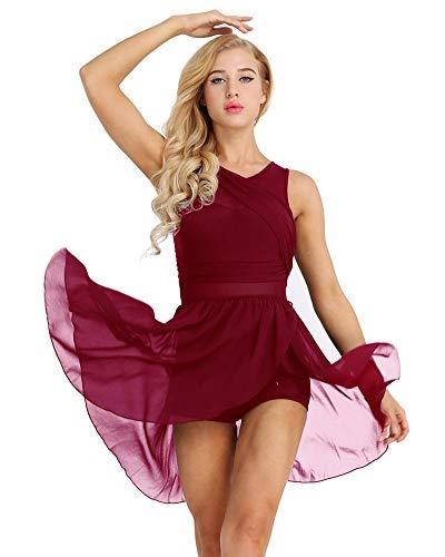IEFIEL Vestido de Danza Ballet para Mujer Vestido Irregular de Danza Lirica Disfraz Bailarina de Fiesta Vestido Gasa Corto de Baile Latino