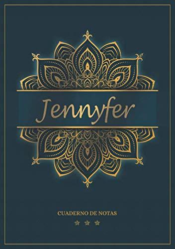 Jennyfer - Cuaderno de notas: Cuaderno A5   Nombre personalizado Jennyfer   Regalo de cumpleaños para la esposa, mamá, hermana, hija   Diseño: mandala   120 páginas rayadas, formato A5 (14.8 x 21 cm)