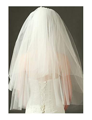 Bridal Wedding Veils 2 Layers Short Wedding Veil Comb Cut Edge Accessory Bridal Veils with Comb Gorgeous Bridal Tulle (Color : White, Item Length : 75cm)