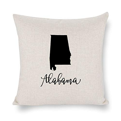 Funda de cojín con silueta de Alabama, 4 de julio, lino rústico decorativo, funda de almohada lumbar decorativa para silla, habitación, sofá, coche, decoración del hogar, regalo de inauguración de la casa, 45 x 45 cm, lyg2jwc3l1mh