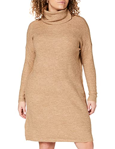 Only ONLJANA L/S COWLNCK Dress Wool Knt Noos Vestito, Marrone (Indian Tan Detail: W. Melange), 44 (Taglia Produttore: Medium) Donna