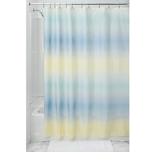 InterDesign Ombre Stripe SC Cortina de baño de diseño de 183,0 cm x 183,0 cm   Cortina de Ducha o bañera con Ojales   Maravillosos Colores degradados   Poliéster Azul/Amarillo