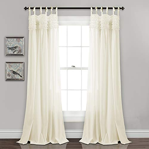 """Lush Decor Lydia Curtains Ruffle Window Panel Set for Living, Dining, Bedroom (Pair), 84"""" L, Ivory"""