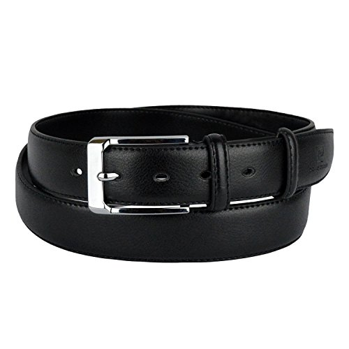 Pierre Cardin HY01304 Cintura da uomo pelle fibbia in acciaio e due passanti. MEDIA WAVE store (120cm, Nero)