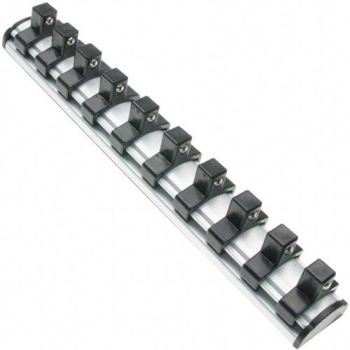 """200 mm Magnetische Aufsteckschiene/Klemmleiste/Aufsteckleiste/Klemmleiste/Nusshalter/Ordnungssystem mit 10 verschiebbare Clips für 3/8"""" Einsätze"""