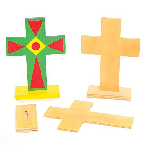 Baker Ross AC638 Kreuze zum Aufstellen aus Holz Bemalen und Verzieren zu Ostern – Kreatives Bastelset für Kinder/Erwachsene (4 Stück), Pack de 4
