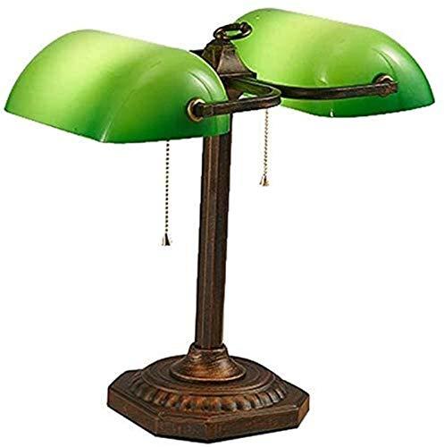 Lámpara de mesa dormitorio Oficina banqueros retro lámpara de mesa, doble cabeza verde banqueros de cristal lámpara de escritorio con conmutador de extracción Cadena Enchufe accesorio, Bronce Satinado