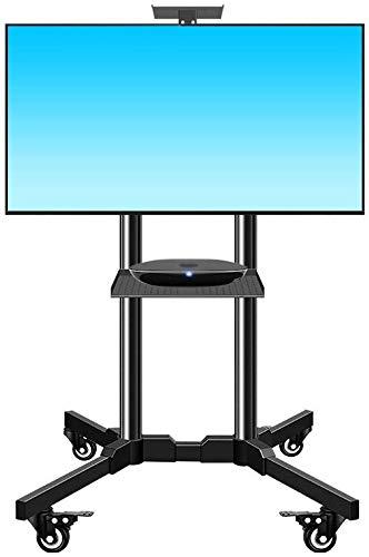 HLZ Supporto de TV, LCD y computadora Suelo de TV móvil del Soporte con Ruedas de Montaje, (32-65 Pulgadas) de Altura Ajustable de Doble Bandeja Trolley TV Soporte de Pared para TV:
