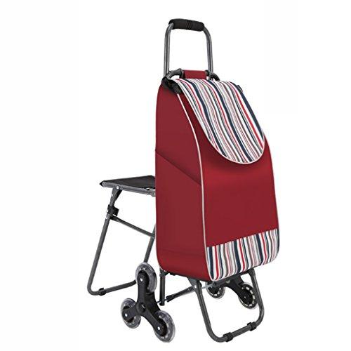 ZYDSD Carrello della spesa salire le scale pieghevole carrello bagagli carrello auto con sedia carrello portatile carrello carrello passeggino tessuto impermeabile di spessore Carrello a mano multiuso