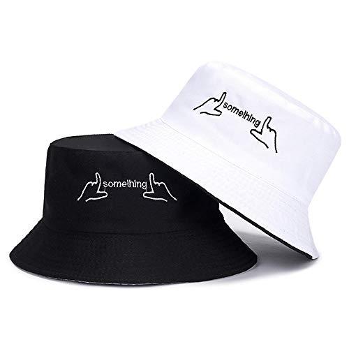 NOBRAND - Fannao - Sombrero de pescador reversible, sombrero de cubo, sombrero de verano con pequeña margarita coreana bordada, sombrero para ocio y viajes