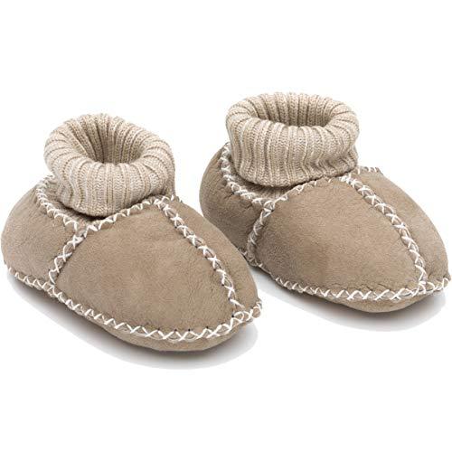 Baby Schuhe 100% natürliches Lammfell extra warm und atmungsaktiv Krabbelschuhe mit Strickbund (19/20, BEIGE)