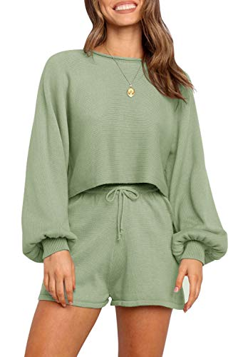 ZESICA Women's Casual Long Sleeve Solid Color Knit Pullover Sweatsuit 2 Piece Short Sweater Outfits Sets Green