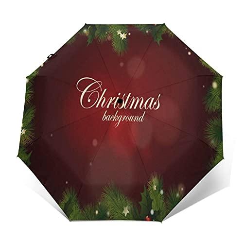 Regenschirm Taschenschirm Kompakter Falt-Regenschirm, Winddichter, Auf-Zu-Automatik, Verstärktes Dach, Ergonomischer Griff, Schirm-Tasche, Adventskranz Weihnachtsgirlande