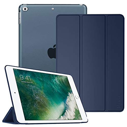 Fintie Hoes voor iPad 9,7 inch 2018/2017, ultradunne beschermhoes met transparante achterkant, met automatische slaap-waakfunctie voor 9,7 inch iPad 6. Generation / 5e generatie. marineblauw
