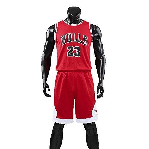 RuiyouQQ Kinder Junge Herren Michael Jordan # 23 Chicago Bulls Retro Basketball Shorts Sommer Trikots Basketballuniform Top & Shorts Basketball Anzug (Red, M for Kids)