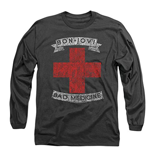 Bon Jovi Bad Medicine New Jersey Album Band Longsleeve T Shirt & Stickers (X-Large) Charcoal