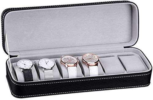 Caja de Relojes de Cuero Caja de reloj Negro avestruz patrón portátil simple viaje 6 reloj caja de reloj reloj de la caja de almacenaje de la cremallera Caja de reloj ideal for O Seguir este uso tiend