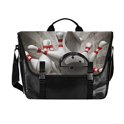 Hunihuni Messenger Bag Vintage Sport Bowling Ball Canvas Laptop Aktentasche Umhängetasche für Herren mit Schultergurt Anzug für 15 Zoll