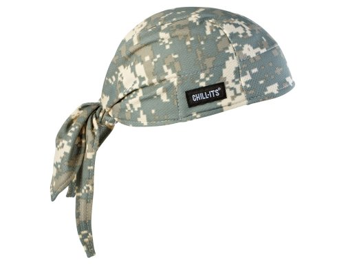 Ergodyne Chill Its 6615 Dew Rag, Lined with Terry Cloth Sweatband, Sweat Wicking, Camo