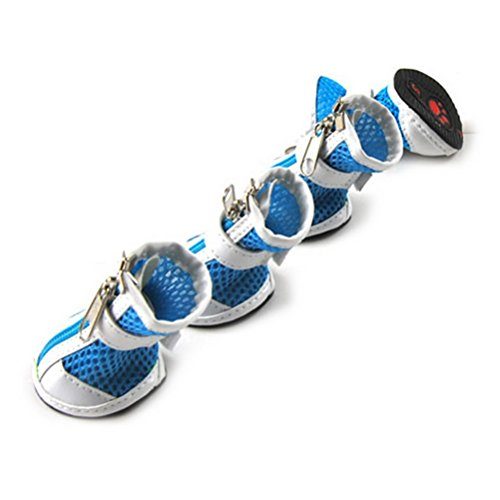 ZUNEA Small Dog Shoes for Hot Pavement Summer Breathable Mesh Boots Adjustable Non Slip Zipper Pet Dogs Booties White PU Paw Protector Blue 5#