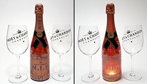 Moet & Chandon Set - Moet & Chandon Nectar Imperial Rose 75cl (12% Vol) mit Beleuchtung + 2x Ballon Gläser