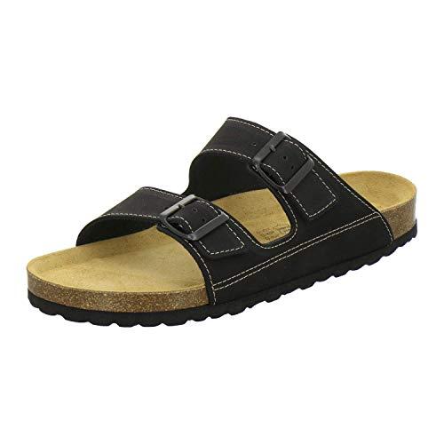 AFS-Schuhe 3110 sportliche Herren Pantoletten Leder, Bequeme Hausschuhe Korkfussbett, Made in Germany (43 EU, schwarz)