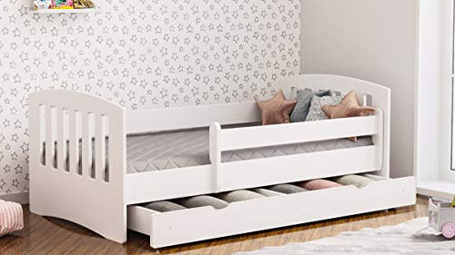 Lit enfant Lit simple pour enfant avec matelas et tiroir sous lit inclus - Classique   Parfait pour les garçons et les filles   Peintures écologiques  (Blanc, 160x80)