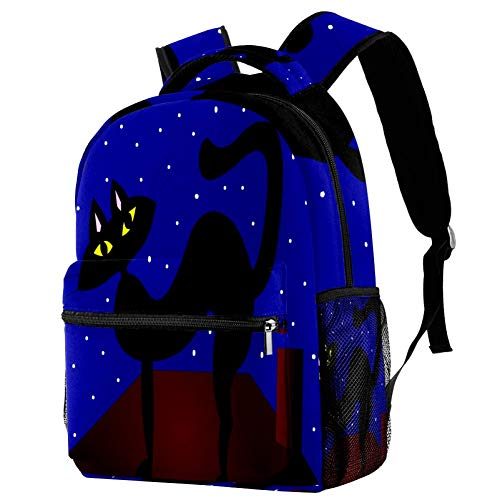 Campus Backpack Cat Roof Starry Sky Best School Bag Cool Neutral for Boys Girls
