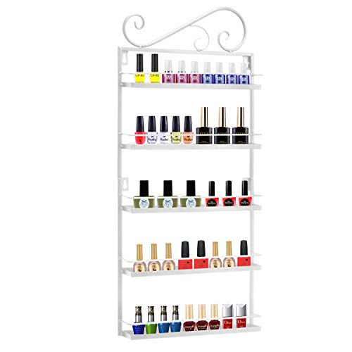 P&B 5 Etagen Metall Nagellack Wandregal Organizer Nagellack Wandregal Display 50 Flaschen (weiß)