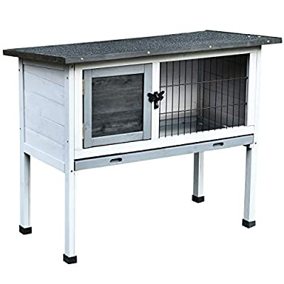 Pawhut Wooden Rabbit Hutch Bunny Cage Backyard Built in Tray Openable Asphalt Roof Small Animal House 86 x 45 x 70 cm from Sold by MHSTAR