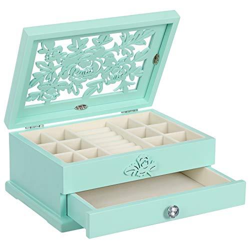 SONGMICS Girls Jewelry Box Wooden Flower Carving Jewelry Organizer, 2-Tier Jewelry Storage Case, with Drawer, Aqua UJOW201BU