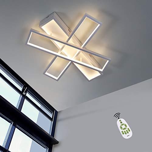 ZMH Ściemniana lampa sufitowa LED Nowoczesna lampa sufitowa 55cm Lampa do salonu Lampa do sypialni 72W Biały żyrandol wewnętrzny z pilotem do salonu Sypialnia Jadalnia Biuro Przedpokój i balkon