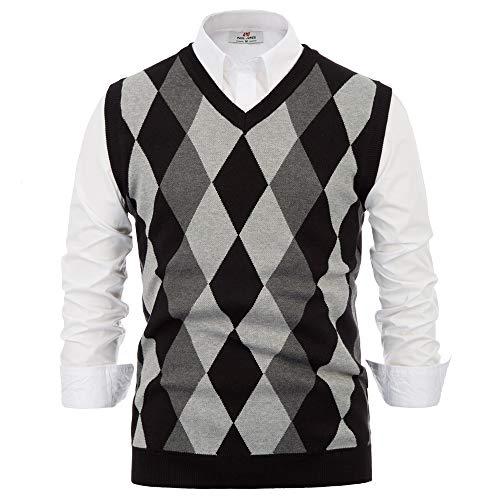 Mens Classic Argyle Sweaters Vest V Neck Lightweight Soft Men Clothing (M,Black)