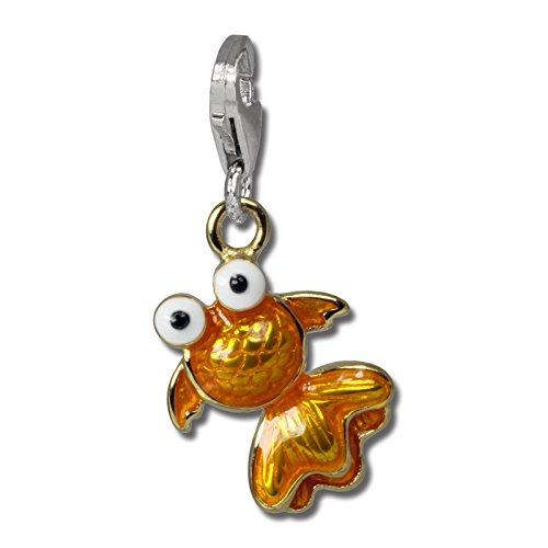 SilberDream takasugi arancione a forma di pesce in argento Sterling 925 minadesign viennagold ciondolo per bracciale catena orecchino FC835O