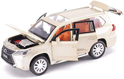Model auto's Model Car LX570 Off-road Vehicle Model Alloy Car Model 1/32 Toy Car Simulation Sounds Licht terug naar de auto Ornamenten LX570-goud/White Holiday lili