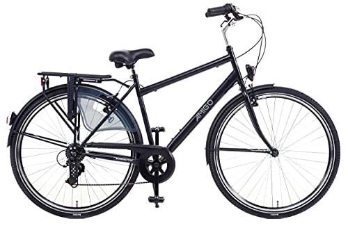 Amigo Style - Bici da città per uomo 28 pollici - Adatto da 180-185 cm - Cambio Shimano a 6 velocità - Citybike con freno a mano, Campanello, Cavalletti e Luci - Nero/Grigio
