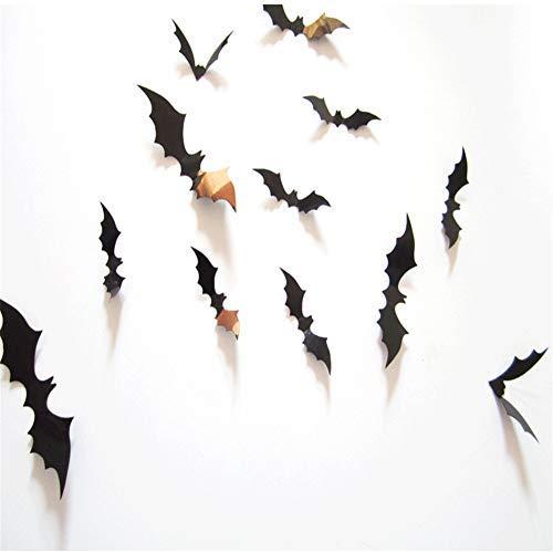 Halloween 3D zwarte vleermuismuurstickers, 12 stuks, decoratie, wandtattoo, doe-het-zelf, party, huisdecoratie, driedimensionale muurstickers