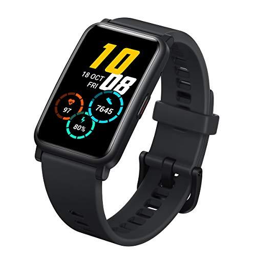 HONOR Watch ES - Salud & Fitness Smartwatch, 1,64 Pulgadas Pantalla AMOLED con 95 Modos de Entrenamiento, Podómetros, Monitor cardíaco, 5ATM Pulsera de Actividad Android iOS (Meteoritos Negro)