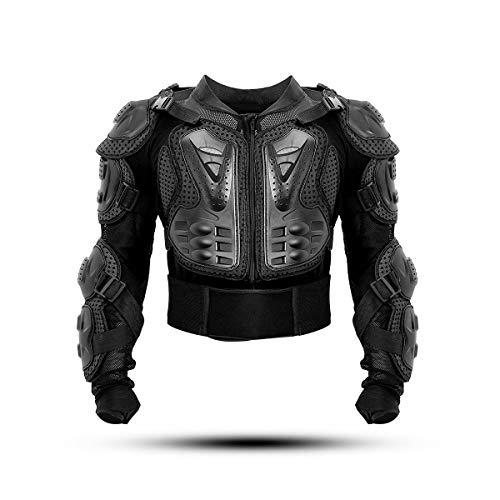 KINGUARD Chaqueta de Moto Chaqueta Protectora Cuerpo Armadura Profesional de Motocicleta Protección del Cuerpo Entero Spine Chest para Hombres Mujeres (Negro, XXXL)