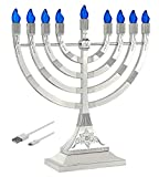 Zion Judaica LED Electric Hanukkah Menorah - Battery or USB Powered (Silver) - Batteries Not Included Cable is Included